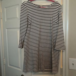J.Crew Factory Navy and white striped dress